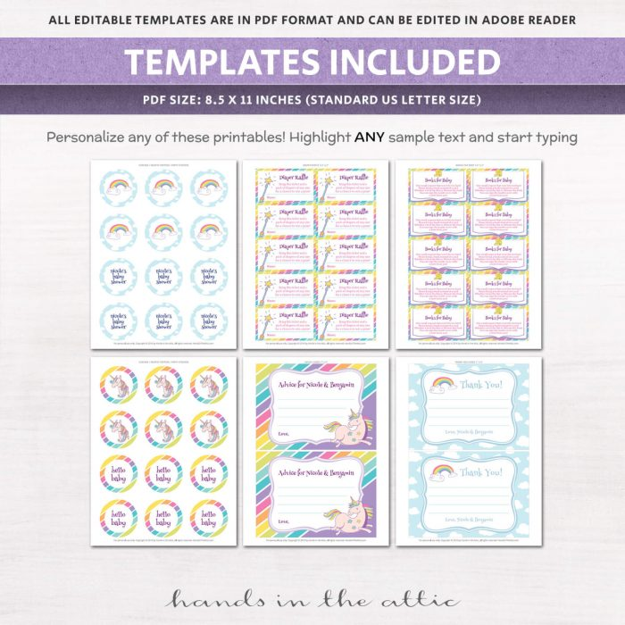Image for Unicorn & Rainbows Baby Shower Invitation Kit