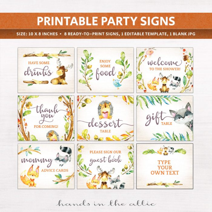 Image for Woodland Animals Baby Shower Signs