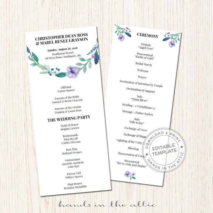 Image for Blue Floral Wedding Program
