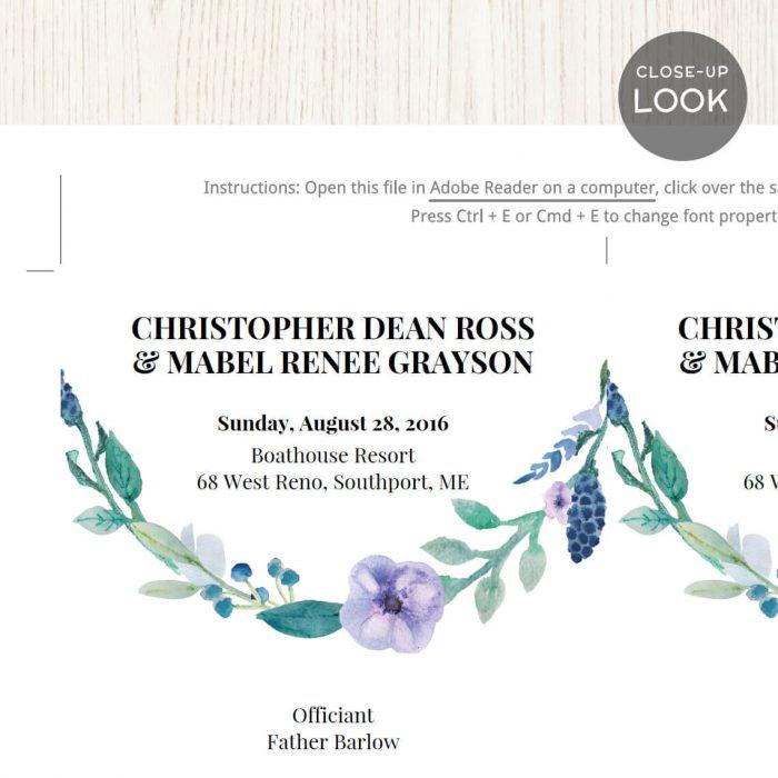 Image for Blue Floral Wedding Program