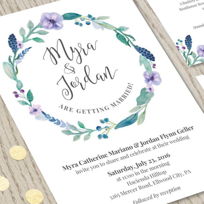 Close-up of Floral Wedding Invitation