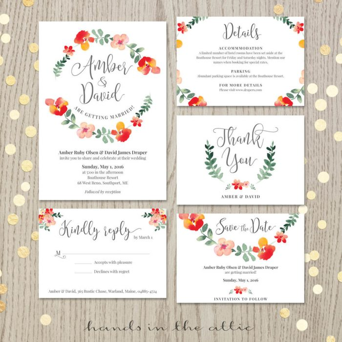 Image for Red Floral Wedding Invitation Set