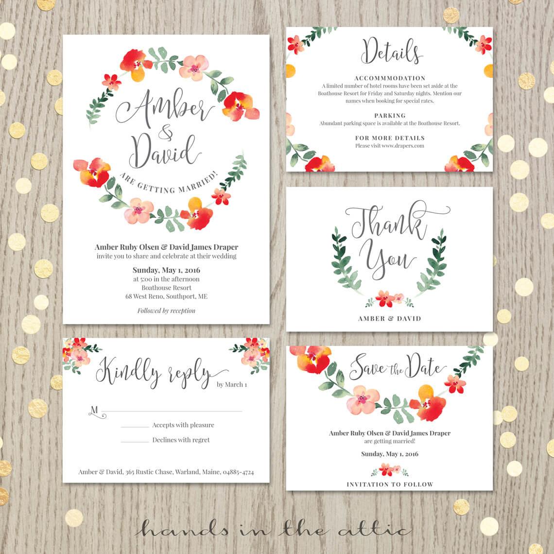 Red Floral Wedding Invitation Set
