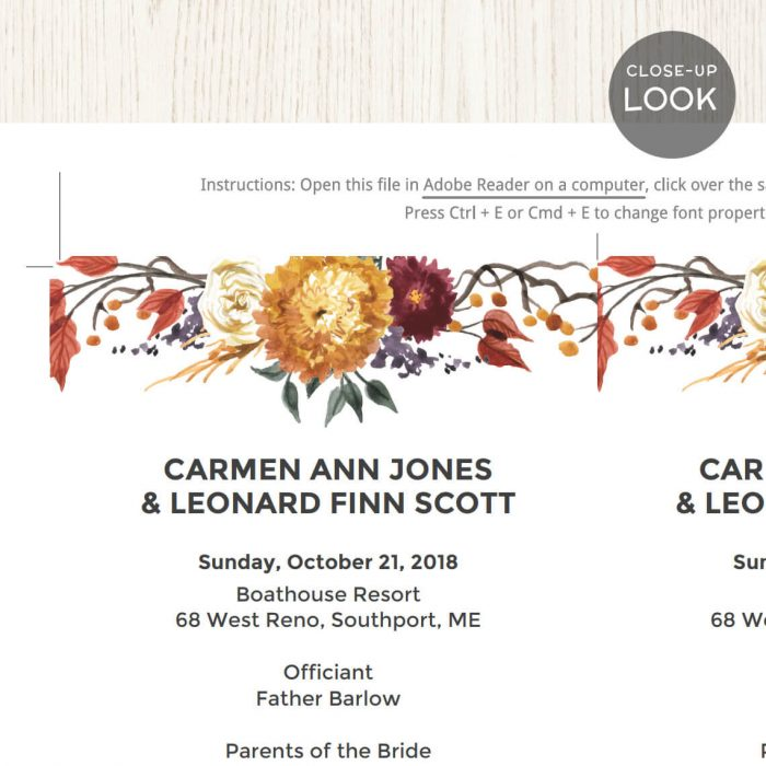 Image for Fall Autumn Flowers Wedding Program