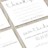 Close-up of Modern Calligraphy Wedding Invitation