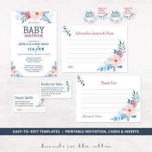 Baby shower invitation kits print and personalize at home image for floral baby shower invitation kit filmwisefo Gallery