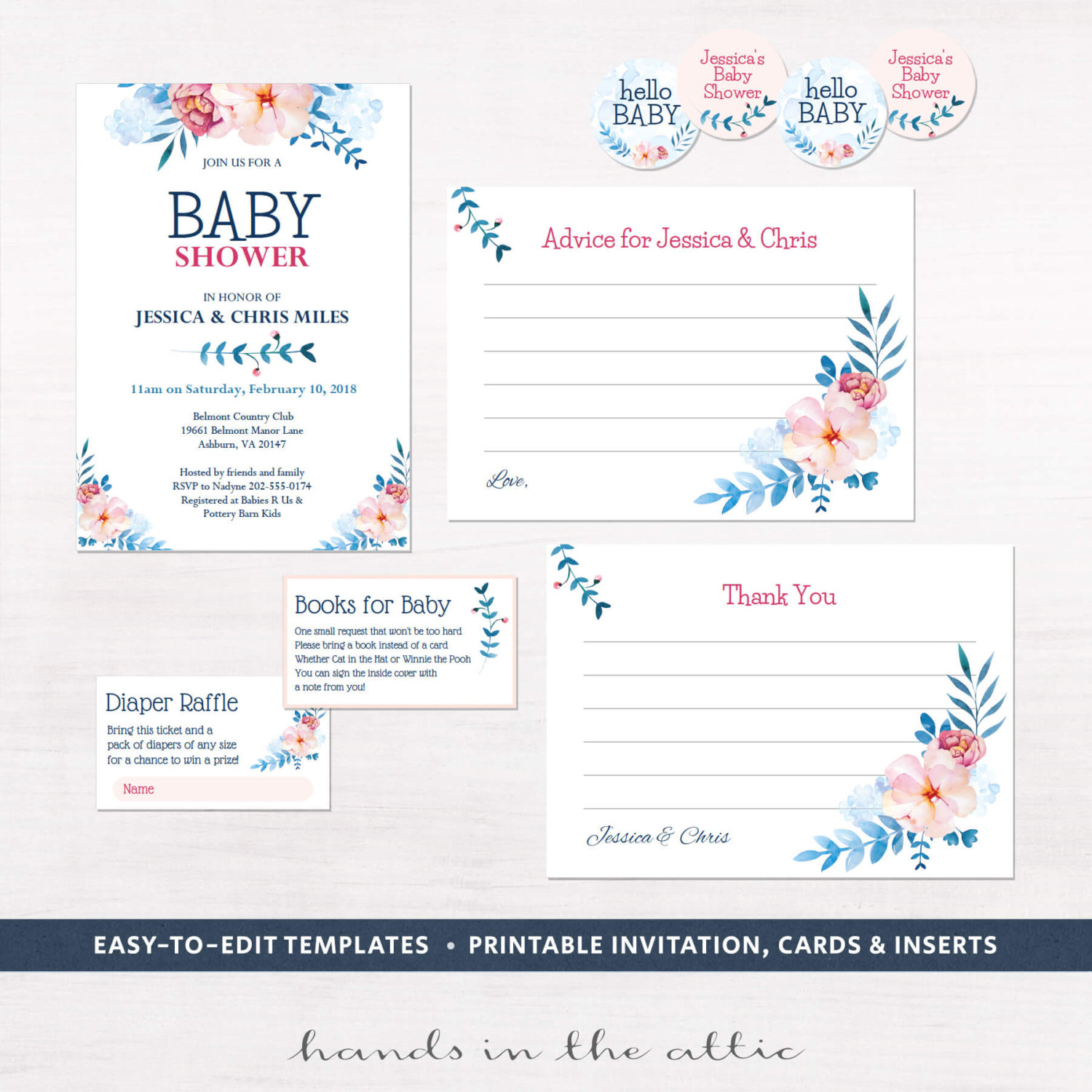 Image for Floral Baby Shower Invitation Kit