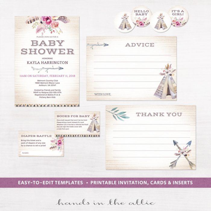 Image for Boho Baby Shower Invitation Kit