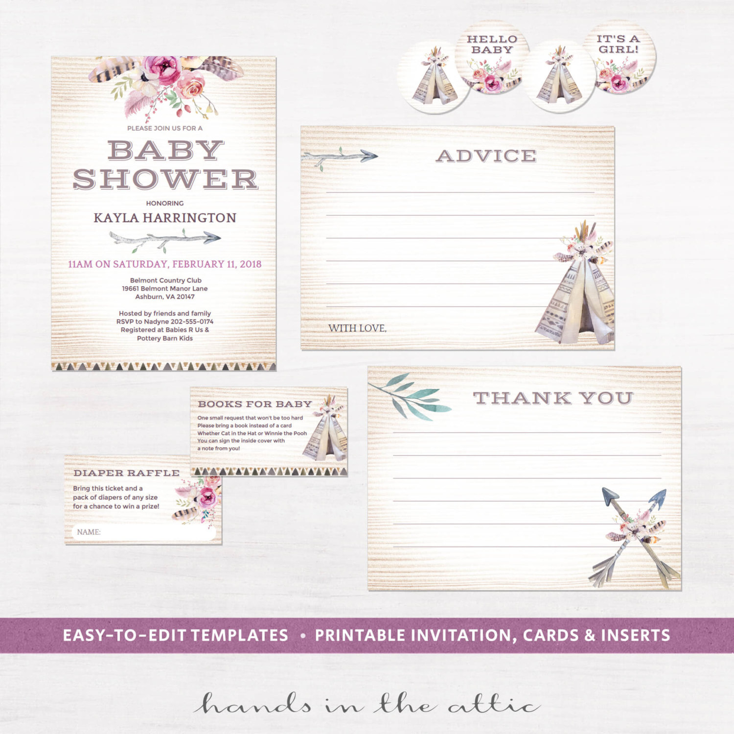 image relating to Printable Invitation Kit called Boho Little one Shower Invitation Package