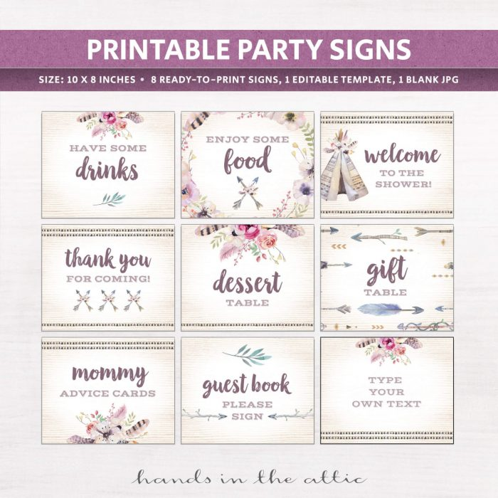 Image for Boho Baby Shower Signs