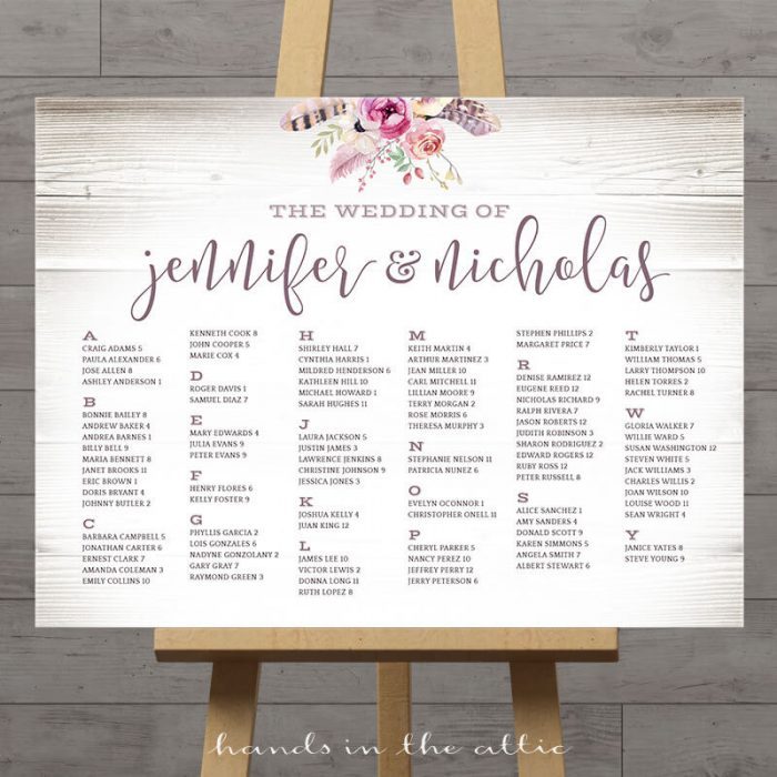 Image for Boho Wedding Seating Plan