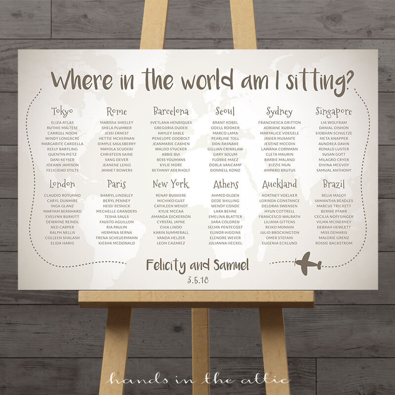 World Travel Wedding Seating Chart  Printable Stationery  Weddings