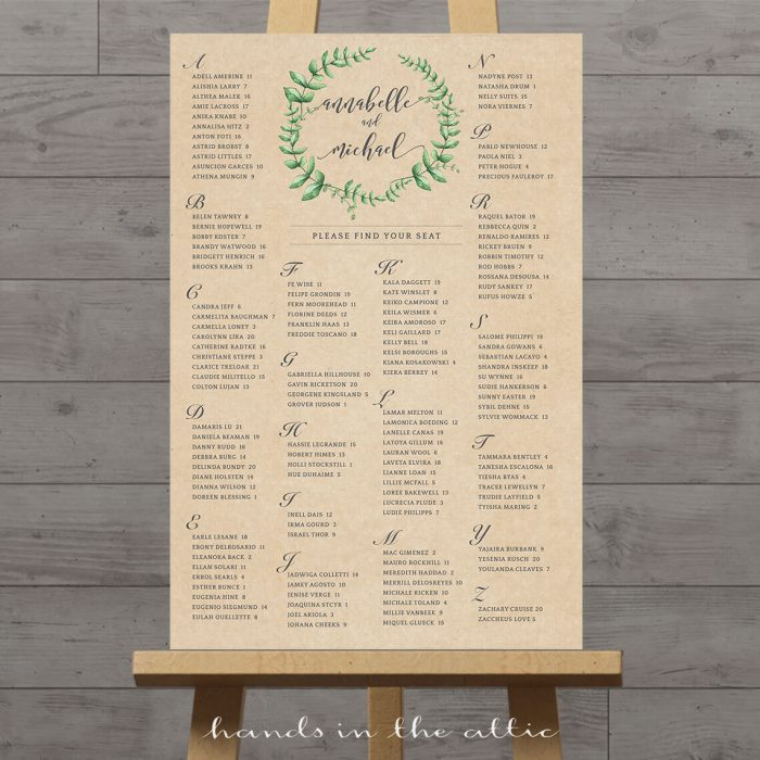 Image for Rustic Table Assignments Chart