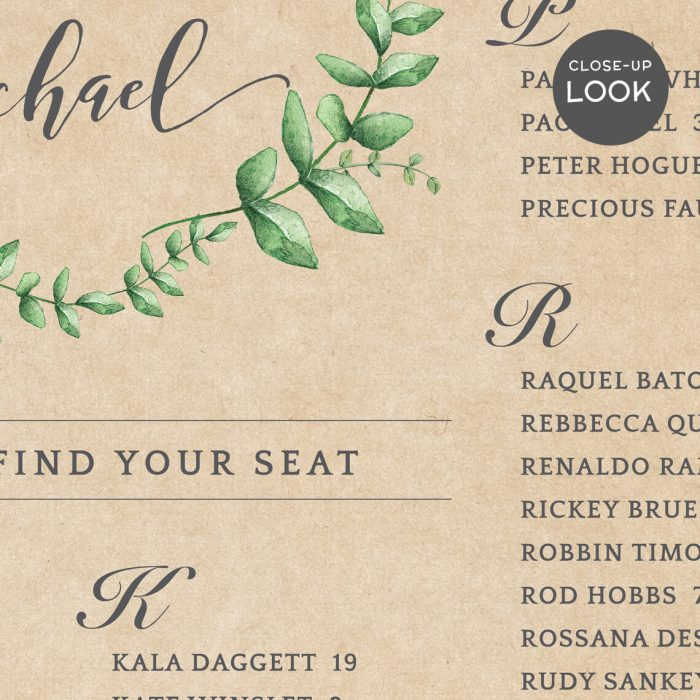 Image for Kraft with Wreath Wedding Seating Chart