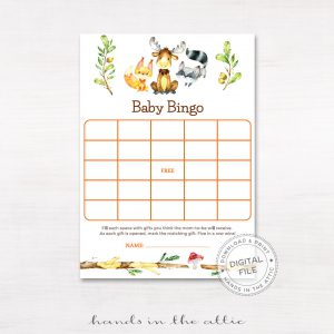 "Image for Woodland Animals ""Baby Bingo"" Baby Shower Game"