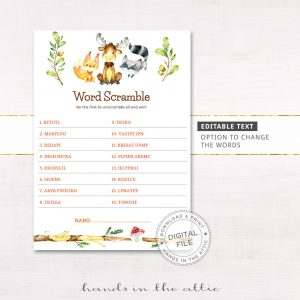 Image for Woodland Animals Word Scramble Game