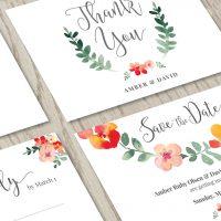Image for Red Floral Wedding Invitation Set