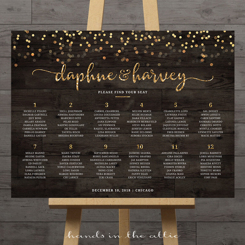 Image for Rustic Gold Confetti Wedding Seating Chart