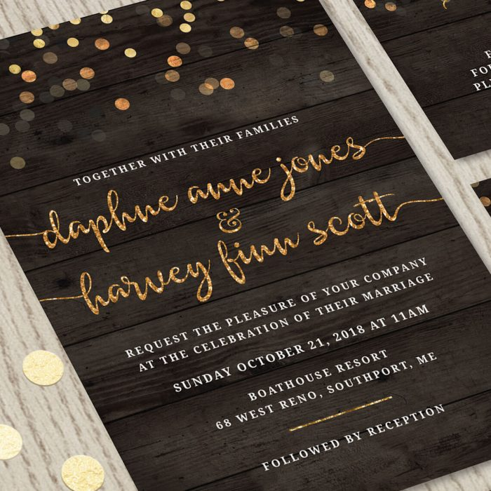 Image for Rustic with Gold Script Wedding Invitation Set