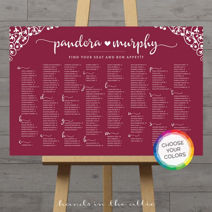Image for Wine Burgundy Wedding Seating Chart