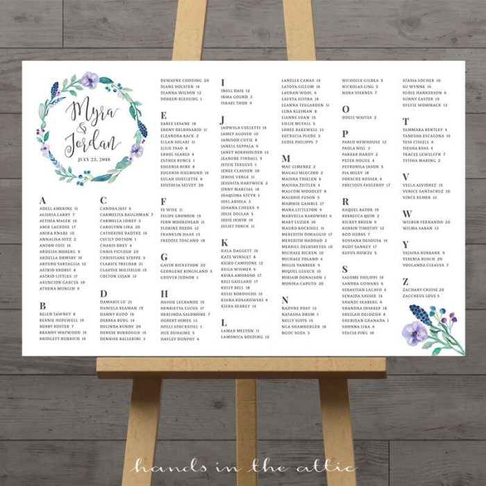 Image for Large Table Plan with Blue Florals