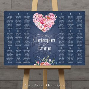 Image for Navy with Pink Flowers Wedding Seating Chart