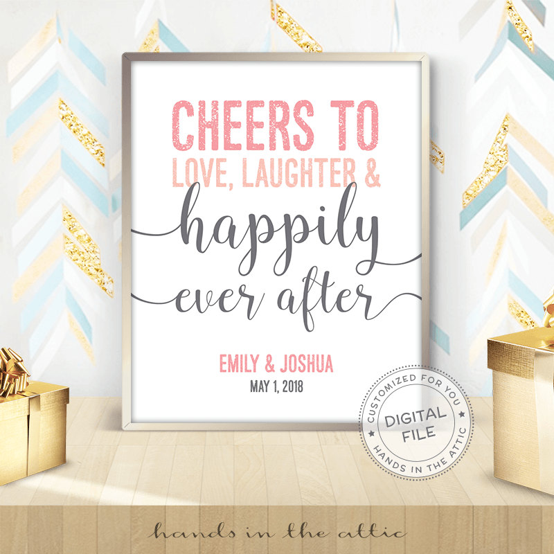 Image for Happily Ever After | Pink & Grey Wedding Sign