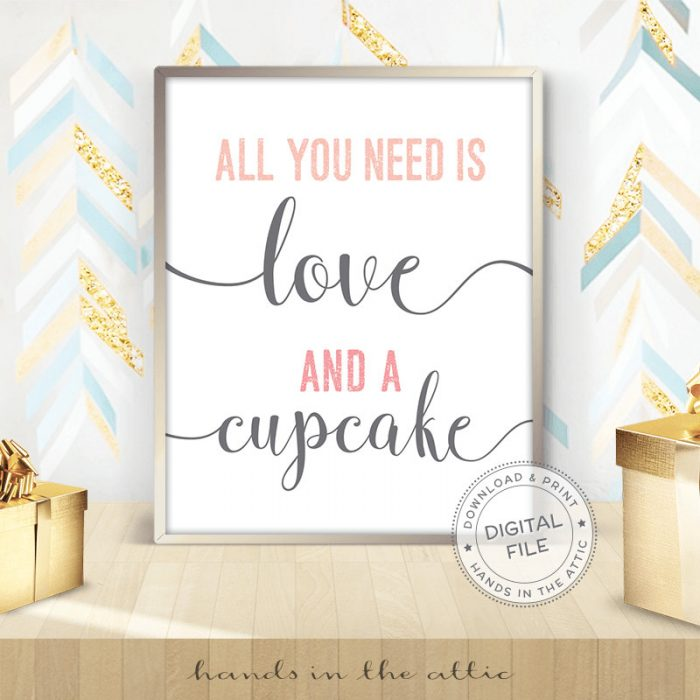 Image for All You Need Is Love And A Cupcake | Pink & Grey Bridal Shower Sign