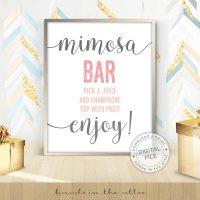 Image for Mimosa Bar | Pink & Grey Bridal Shower Sign