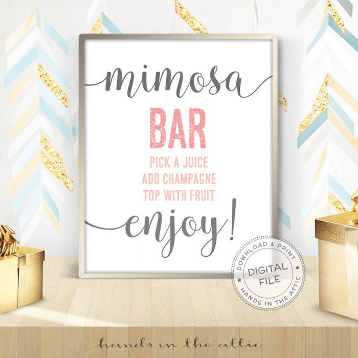 Image for Mimosa Bar | Pink & Grey Bridal Shower Sign