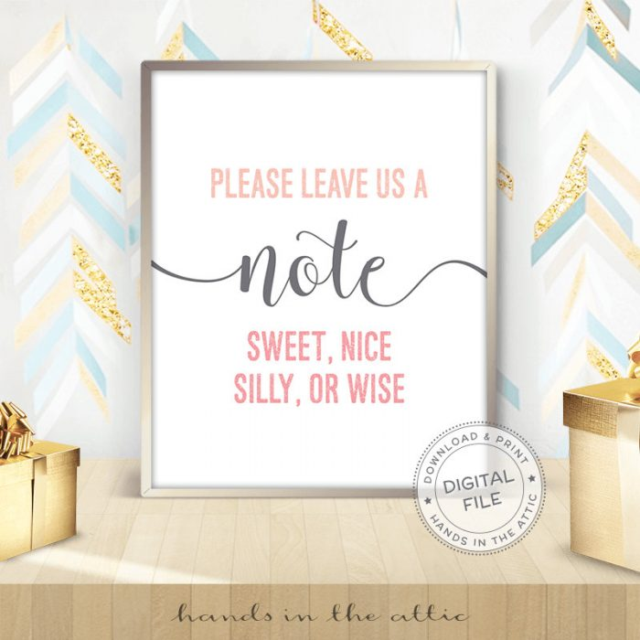 Image for Please Leave Us A Note | Pink & Grey Wedding Sign