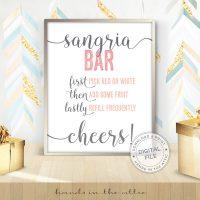 Image for Sangria Bar | Pink & Grey Bridal Shower Sign