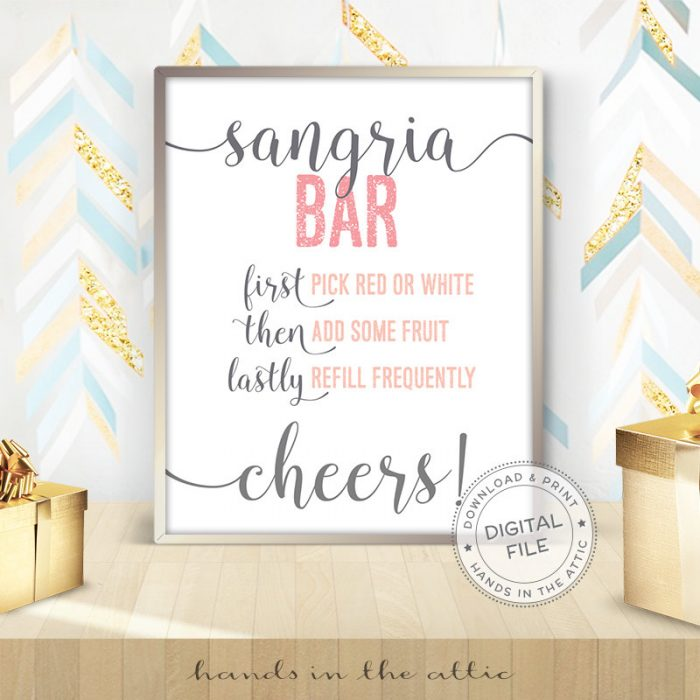 Image for Sangria Bar | Pink & Grey Bridal Shower Sign
