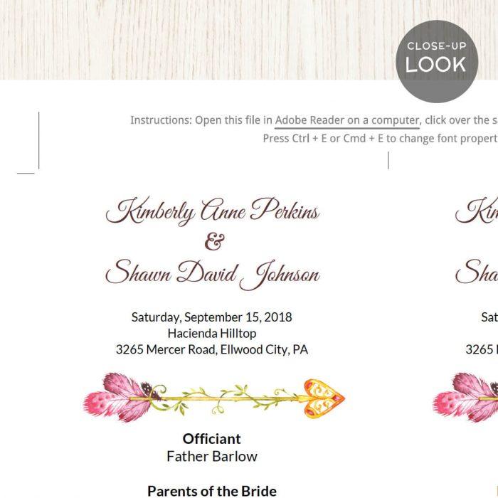 Image for Pink Arrow Wedding Program