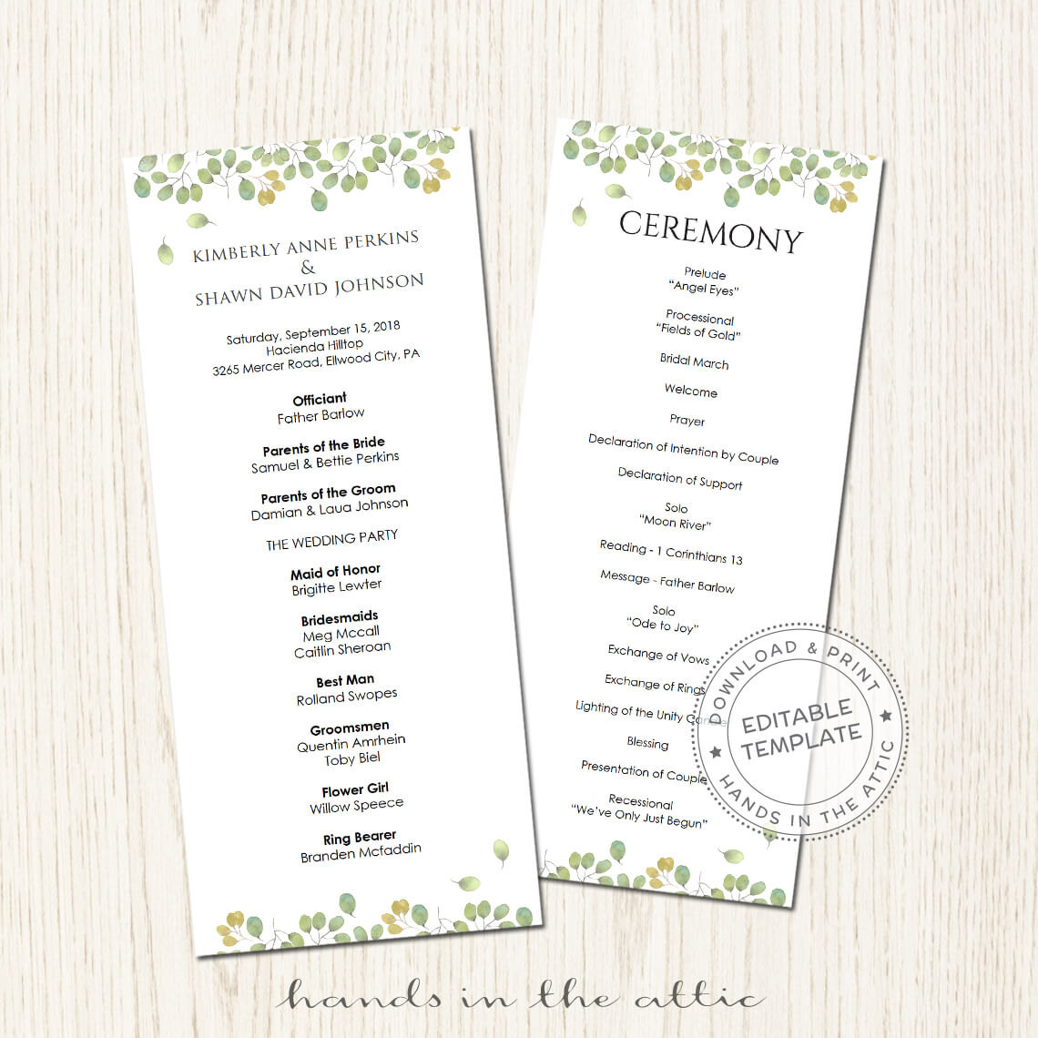 leaves wedding program printable template printable stationery