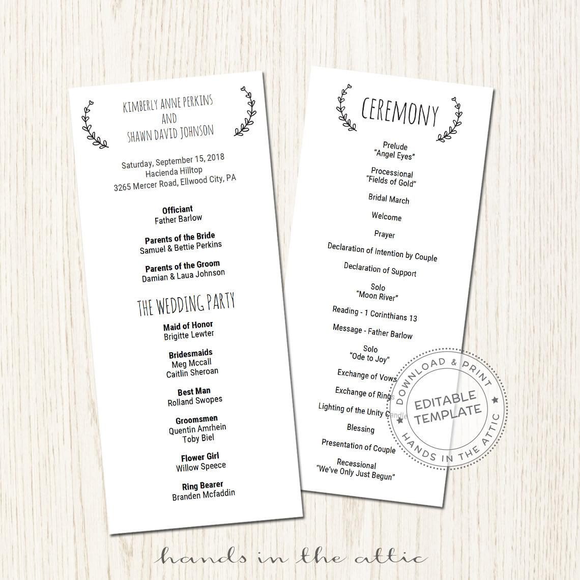 Programs: Basic Wedding Program