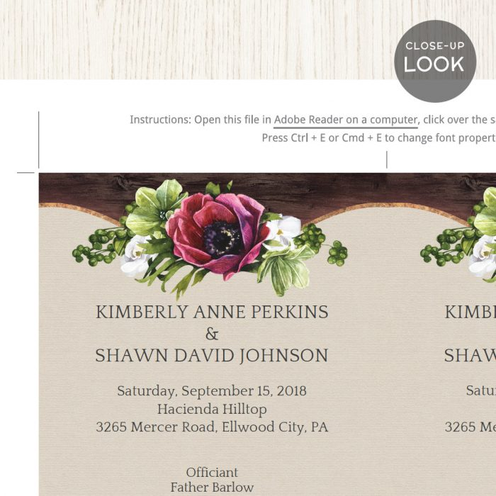Image for Floral & Rustic Wedding Program