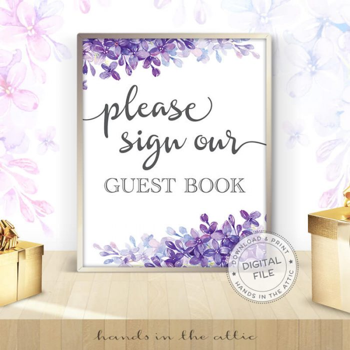Image for Please Sign Our Guest Book | Lilac Wedding Sign