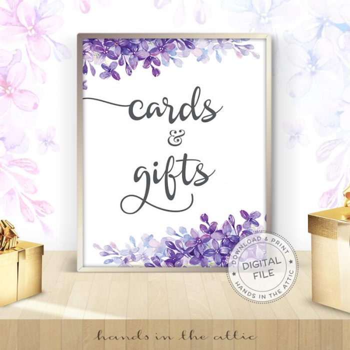 Image for Cards & Gifts   Lilac Bridal Shower Sign