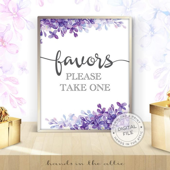 Image for Favors Please Take one | Lilac Bridal Shower Sign