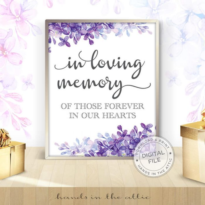 Image for In Loving Memory | Lilac Wedding Sign