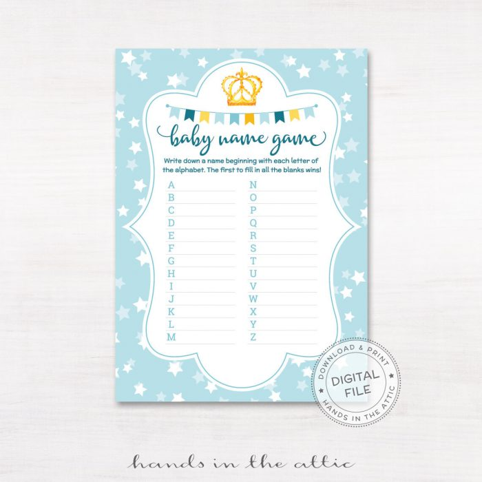 Image for Baby Boy Name Game Printable