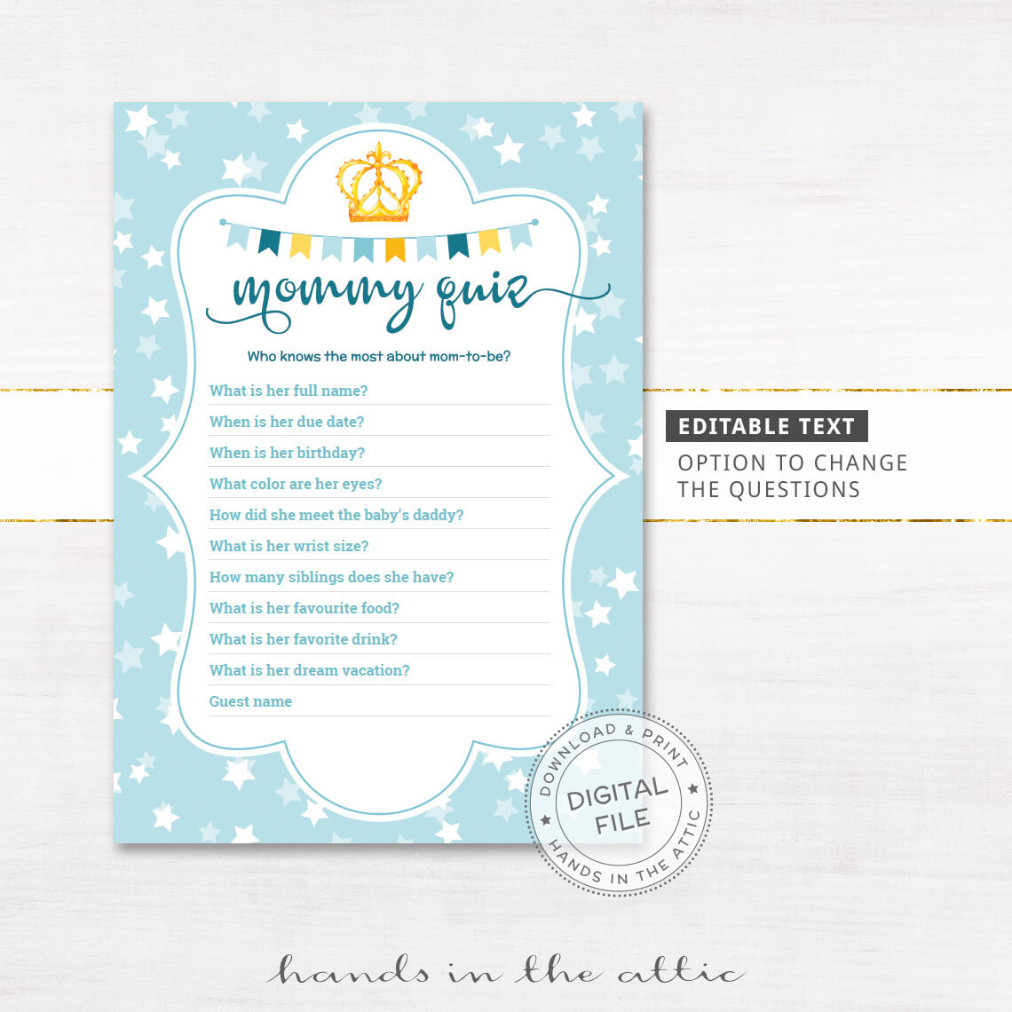 editable mom quiz game baby shower printable printable