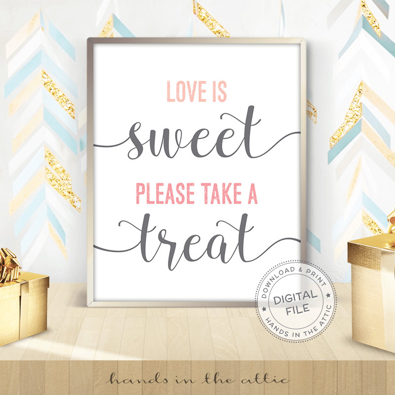 Image for Love Is Sweet Please Take A Treat | Pink & Grey Wedding Sign