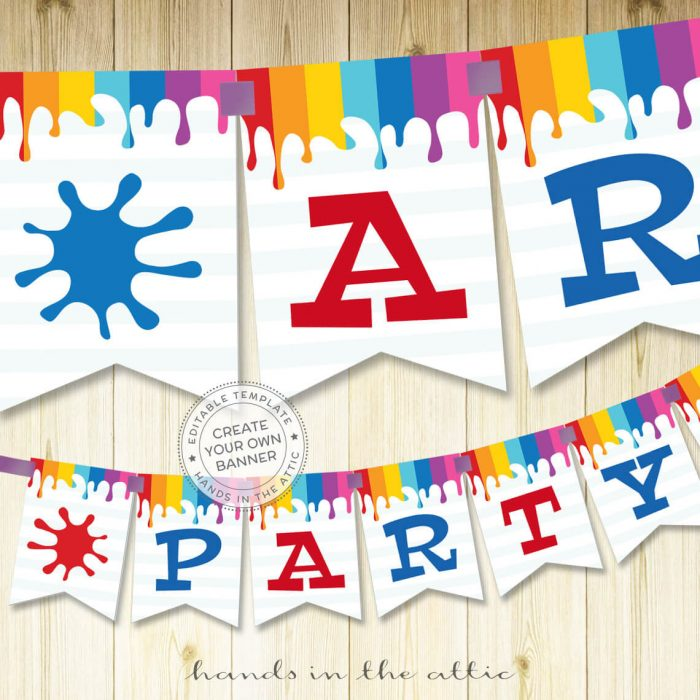 Image for Art Party Banner Printable