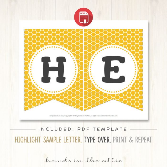Image for Bumble Bee Theme Alphabet Party Banner