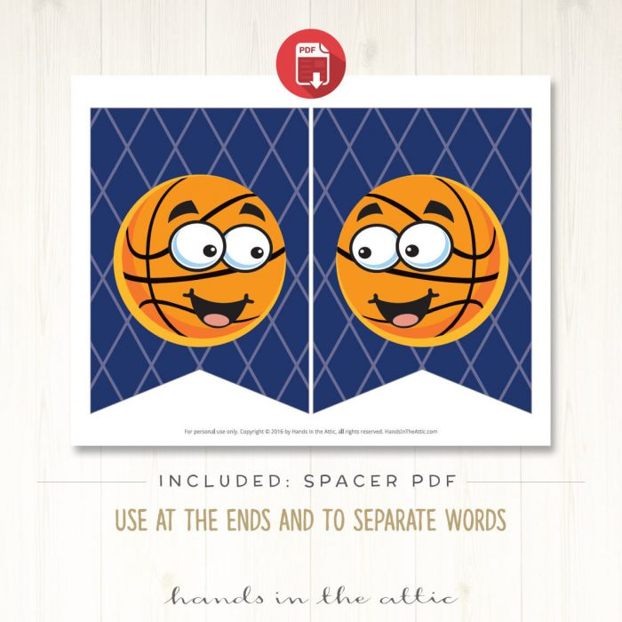 Image for Basketball Sports Theme Alphabet Party Banner