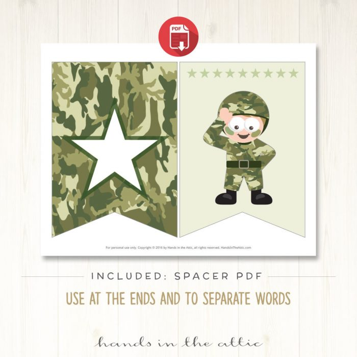 Image for Army Theme Alphabet Party Banner