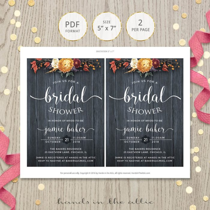 Image for Rustic Fall Bridal Shower Invitation