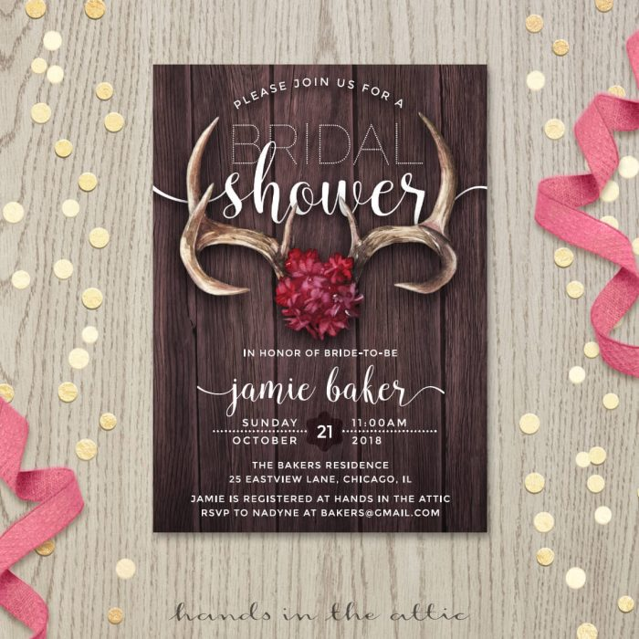 Image for Rustic Antlers Bridal Shower Invitation